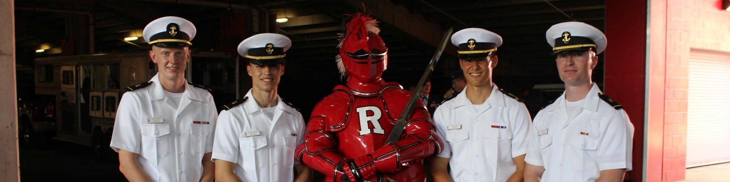 Scarlet Knight with Midshipmen at Military Appreciation Game